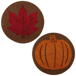 48 Units of Placemat Harvest 15in Round Felt W/eva Glitter Cutout Leaf/pumpkn - Placemats