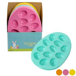 24 Units of Easter Egg Plastic Egg Plate - Disposable Plates & Bowls
