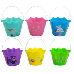 36 Units of Easter Print Bucket W/handle & - Easter