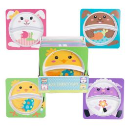 24 Units of Dinnerware Melamine Kids Square Easter Divided Plate/24pc Pdq - Kitchen & Dining