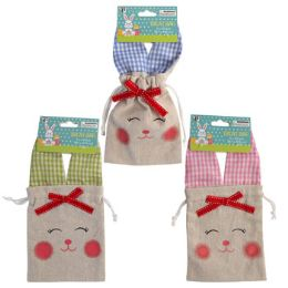 36 Units of Treat Bag Burlap Bunny Face - Gift Bags Assorted