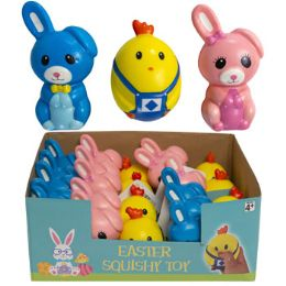 24 Units of Squishy Easter Character 3asst - Easter