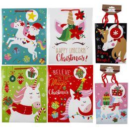 36 Units of Gift Bag Xmas Unicorn 4asst lg - Gift Bags Assorted