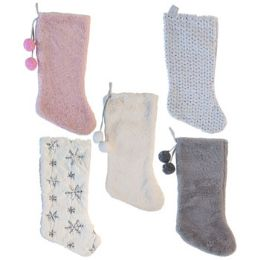 24 Units of Stocking Plush Deluxe Sequins/ Poms White/pastel 18/19in 5asst - Christmas Stocking