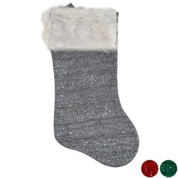 18 Units of Stocking Knit W/sequins Deluxe Plush Cuff 18in 3ast Clr Ht/jhk - Christmas Stocking