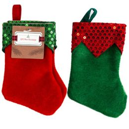 48 Units of Stocking Mini Elf 2pk Felt 7in Green/red W/sequin Cuff Ht/jhook - Christmas Stocking