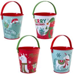 24 Units of Pail Metal Christmas 4ast 4in - Christmas