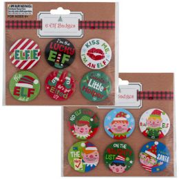 48 Units of Badge Pins Elf Yourself 6ct 2ast Designs/pb Insert/12pcstrip - Apparel Accessories