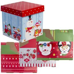 24 Units of Gift Box 2pk 5.9in Square 4ast Xmas Designs/shrk Lbl W/instruct - Boxes & Packing Supplies