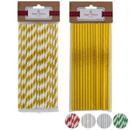 72 Units of Straws Paper Foil Stripe/solid - Straws and Stirrers