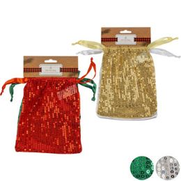48 Units of Gift Bag 2pk Sequin Organza - Gift Bags Assorted