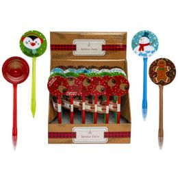 24 Units of Pen Christmas W/spinner 4ast - Christmas