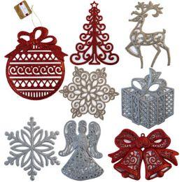 48 Units of Ornament Glitter Jumbo 9-11in - Christmas Ornament
