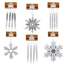 48 Units of Ornament Clear Snowflake/icicle - Christmas Ornament