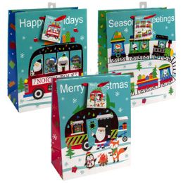 24 Units of Gift Bag Christmas Large Hotstmp - Gift Bags Assorted