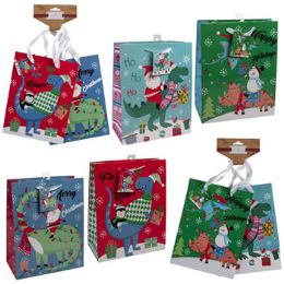 36 Units of Gift Bag Dino Christmas Lg/med - Gift Bags Assorted
