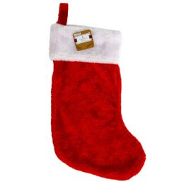 18 Units of Stocking Deluxe Plush Red W/white Cuff 18in Ht/jhook - Christmas Stocking