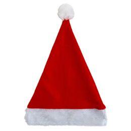 36 Units of Santa Hat 17in Felt W/plush Cuff Red/hanger Card - Christmas Stocking