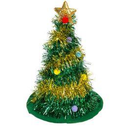 24 Units of Tinsel Christmas Tree Hat - Christmas