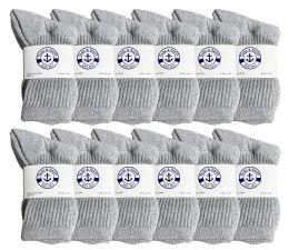 240 Units of Yacht & Smith Kids Cotton Crew Socks Gray Size 6-8 - Boys Crew Sock