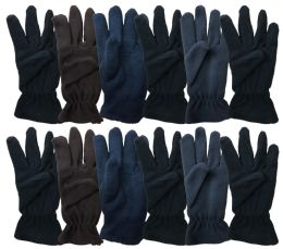 60 Units of Yacht & Smith Mens Double Layer Fleece Gloves Packed Assorted Colors - Fleece Gloves