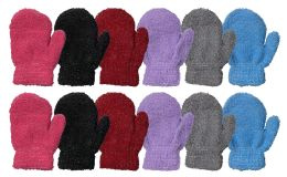 120 Units of Yacht & Smith Kids Glitter Fuzzy Winter Mittens Ages 2-7 - Fuzzy Gloves