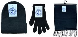 144 Units of Yacht & Smith 3 Piece Winter Care Set, Solid Black Hat Glove Scarf - Winter Care Sets