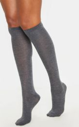 48 Units of Yacht & Smith Womens Gray Knee High Socks, Boot Socks 90% Cotton, Size 9-11 - Womens Knee Highs