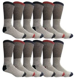 120 Units of Yacht & Smith Mens Cotton Thermal Crew Socks, Cold Weather Boot Sock Shoe Size 8-12 - Mens Thermal Sock