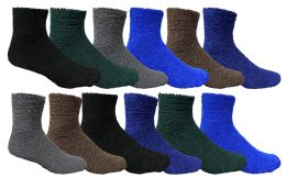 72 Units of Yacht & Smith Men's Warm Cozy Fuzzy Socks, Solid Colors Size 10-13 - Mens Crew Socks