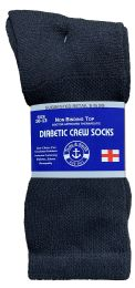 48 Units of Yacht & Smith Men's Loose Fit NoN-Binding Soft Cotton Diabetic Crew Socks Size 10-13 Black - Men's Diabetic Socks