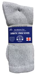 240 Units of Yacht & Smith Men's Loose Fit NoN-Binding Soft Cotton Diabetic Crew Socks Size 10-13 Gray - Men's Socks for Homeless and Charity