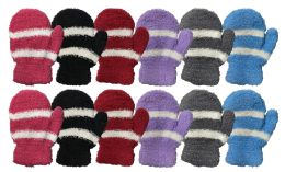 72 Units of Yacht & Smith Kids Striped Fuzzy Mittens Gloves Ages 2-7 - Fuzzy Gloves