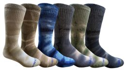 120 Units of Yacht & Smith Mens Ring Spun Cotton Tie Dye Crew Socks Size 10-13 Super Soft Arch Support - Mens Crew Socks