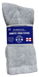 60 Units of Yacht & Smith Women's Cotton Diabetic NoN-Binding Crew Socks - Size 9-11 Gray - Women's Diabetic Socks