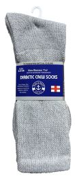 60 Units of Yacht & Smith Men's King Size Loose Fit NoN-Binding Cotton Diabetic Crew Socks Gray Size 13-16 - Big And Tall Mens Diabetic Socks