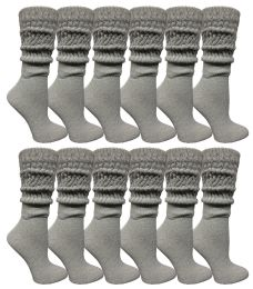96 Units of Yacht & Smith Womens Heavy Cotton Slouch Socks, Solid Heather Gray - Womens Crew Sock