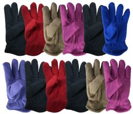 72 Units of Yacht & Smith Kids Warm Winter Colorful Fleece Gloves Assorted Colors Ages 3-10 Years Old - Kids Winter Gloves