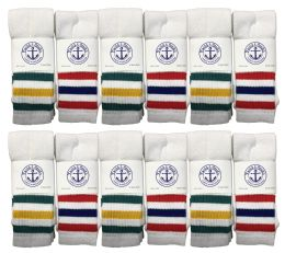 120 Units of Yacht & Smith 31 Inch Men's Cotton Tube Socks, Referee Style, Size 10-13 White With Stripes - Mens Tube Sock