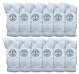 48 Units of Yacht & Smith Women's Cotton Crew Socks White Size 9-11 - Womens Crew Sock