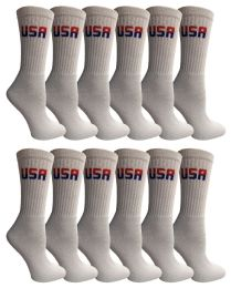 48 Units of Yacht & Smith Women's Usa American Flag Crew Socks, Size 9-11 White - Womens Crew Sock