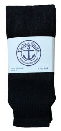 48 Units of Yacht & Smith Women's Cotton Tube Socks, Referee Style, Size 9-15 Solid Black 28inch - Womens Crew Sock