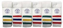 240 Units of Yacht & Smith Women's Cotton Striped Tube Socks, Referee Style Size 9-11 Bulk Pack 28Inch - Women's Tube Sock