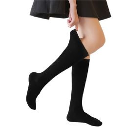 72 Units of Yacht & Smith 90% Cotton Girls Black Knee High, Sock Size 6-8 - Girls Knee Highs