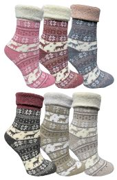 72 Units of Yacht & Smith Womens Thick Soft Knit Wool Warm Winter Crew Socks, Patterned Lambswool, FAIR ISLE PRINT - Womens Thermal Socks