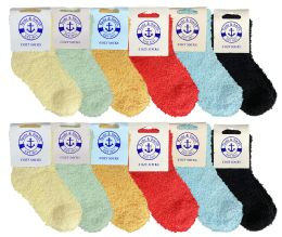 36 Units of Yacht & Smith Kids Solid Color Fuzzy Socks Size 4-6 - Girls Crew Socks
