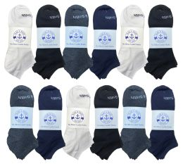 72 Units of Yacht & Smith Mens Cotton Low Cut No Show Loafer Socks Size 10-13 Solid Assorted - Mens Ankle Sock