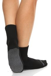 96 Units of Yacht & Smith Multi Purpose Diabetic Black Rubber Silicone Gripper Bottom Slipper Sock Size 9-11 - Womens Slipper Sock