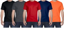 144 Units of Mens Plus Size Cotton Short Sleeve T Shirts Assorted Colors Size 5XL - Mens T-Shirts