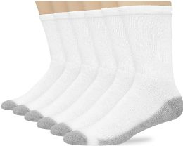 180 Units of Hanes Mens White Cushioned Crew Socks, Shoe Size 6-12 - Men's Socks for Homeless and Charity